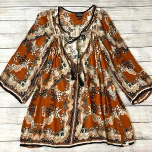 Angie Spiced Printed Boho Shift Dress Size M